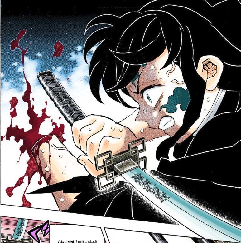 黒死牟(こくしぼう)の最初の斬撃の「月の呼吸」の剣技により、無一郎は腕を切られる。